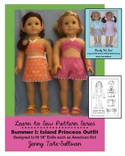 """18"""" Doll Clothes Pattern_ISLAND PRINCESS for American Girl_BONUS Learn-to-Sew_CD"""