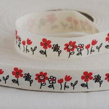 Zakka Cinta de algodón Coser Etiqueta Cinta Rojo Daisy Flor