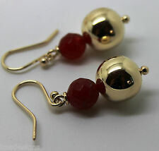 9CT YELLOW GOLD 12MM BALL + 7MM RED JADE FACETED EARRINGS *FREE EXPRESS POSTAGE
