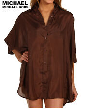 MICHAEL Michael Kors Cover Up South Hampton Solids Button Front Small $140 NWT