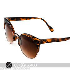 Tortoise Gold P3 Retro Round Circle Cat Eye Semi-Rimless Sunglasses S164