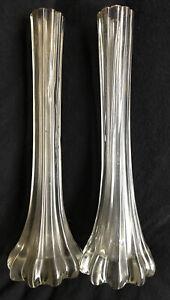 Pair Clear Glass Vases Vintage Elephant Foot Tall Stem Fluted Bud Heavy Rib 27cm