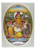 "Painting Ganesha Handmade India Miniature Artwork Resin tile Paintings 6"" X 8"""