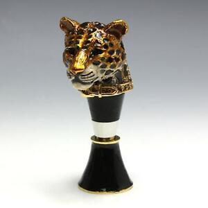 Jay Strongwater Swarovski Crystal & Enamel Leopard Wine Bottle Stopper w/ Stand