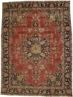 Distressed Muted Colors Floral 8X11 Handmade Antique Oriental Rug Vintage Carpet