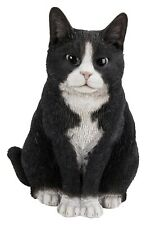 Real Life Black and White Sitting Cat Highly Detailed Home or Garden Ornament