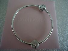 Authentic Pandora TREE OF HEARTS Bangle Gift Set 7.5 in W /Hinged Box B800516-19