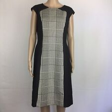 Anne Klein Black White Hoodstooth Centre Panel Shift Dress Size 10 Lined (BC13)