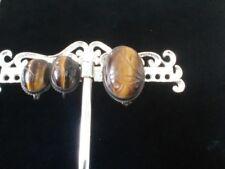 Vintage 14k over Sterling Silver Symmetalic Tigers Eye Scarab Earrings & Pin Set
