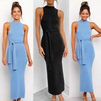Women Sexy Slim Maxi Dress Lady Sleeveless Nightclub Tie Waist Ball Gown Dresses