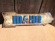 """Idaho State Flag This Way To Arrow Sign Directional Novelty Metal 17"""" x 5"""""""