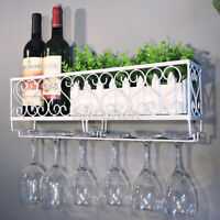 Wall Mounted Iron Wine Rack Bottle Champagne Glass Holder Bar Kit Home Decor ღ