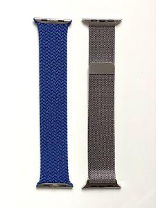 2 Genuine 44mm Silver Milanese Loop + Atlantic Blue Braided Solo Loop - Size 6
