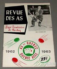 1962-63 AHL Quebec Aces Program Bill Sutherland Cover