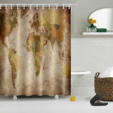 "Retro World Map Waterproof Fabric Bath Decor Bathroom Shower Curtain Hook 72x72"""