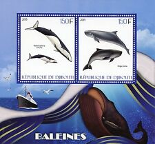 Djibouti 2015 MNH Whales 2v S/S Marine Animals Dwarf Sperm Omura's Whale Stamps