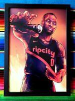 ✺Framed✺ DAMIAN LILLARD Portland Trail Blazers NBA Poster - 84cm x 59.5cm x 3cm