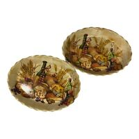 Set of 2 Serving Trays Bamboo Wine and Cheese Theme Scalloped Edge Oval