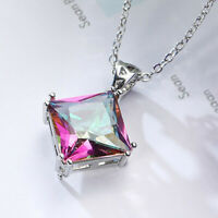 Newest Square Cut Rainbow Mystic Fire Topaz Gems Silver Woman Necklace Pendants