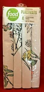 4 Food Network Garden Gate White Floral Butterflies Textured Placemats 14x19 NEW