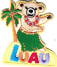 """""""LUAU"""" w/DANCING BEAR & PALM TREE - Iron On Embroidered Patch/Tropical, Party"""