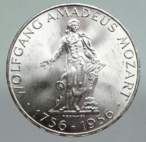 1956 AUSTRIA w Composer Musician Mozart Antique Silver 25 Schilling Coin i92229