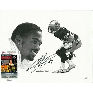 Charles Woodson Raiders Signed 11x14 Print Frank Nareau Artwork JSA Autograph