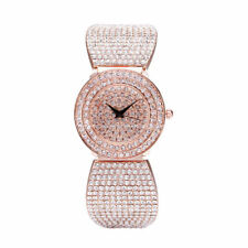 AOYI Rose Gold Plated Full Diamond Rhinestone Case Womens Watch Quartz Bracelet