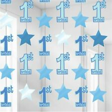 BLUE STRING DECORATIONS - BOYS 1ST BIRTHDAY PARTY HANGING STARS & ONES age 1