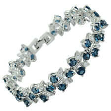 Melina Rhinestone Glass Round Cut Blue Sapphire Tennis Statement Bracelet