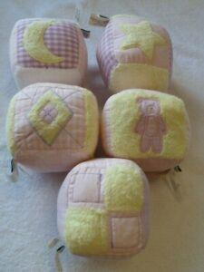 Pottery Barn Kids Baby First Soft Blocks Chamois Rattle Pink Purple Yellow White