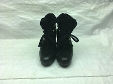 Cole Haan Wedge-Heel Laces Black D40963 Waterproof Ankle Boots Women's Sz 8B GUC