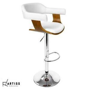 Artiss Wooden Bar Stools SELINA Kitchen Swivel Bar Stool Chairs Leather White