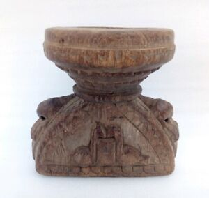 Antique Wooden Bird Carved Flower Vase  Farmer Farming Seeds Pot Floral Carving