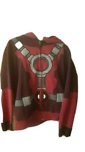 Deadpool Official Marvel Mad Engine Cosplay Full Zip Up Hoodie Size Large