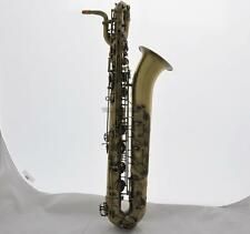 Professional Antique Baritone Bari Saxophone Low A High F# Sax 2 Necks With Case