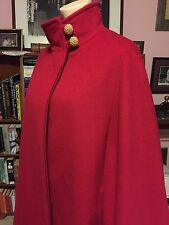 SALE! Vintage JULES MILLER HOT RED WOOL CAPE COAT COUTURE CUT TOPAZ BUTTONS