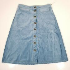 Anthropologie Corduroy A line Button Fly Skirt Sky/Ciel Women's Sz 6 NWT B0