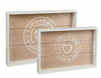Beautiful Set Of 2 - I Love My Home White Wooden Trays - 35x24cm And 30x20cm