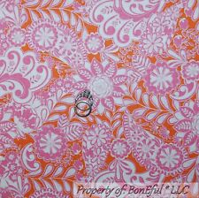 BonEful Fabric Cotton Quilt Orange Pink White Flower Toile Paisley Leaf NR SCRAP