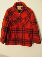 V7682 Brent Wool Red/Black Plaid Zip Up Double Makanaw 60's Jacket Men's L