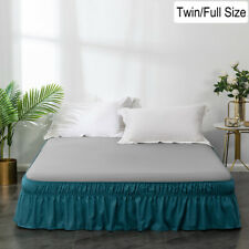 """16"""" Drop Bed Skirt Dust Ruffle Fit Wrap Around Bed Elastic Twin Full Size Teal"""