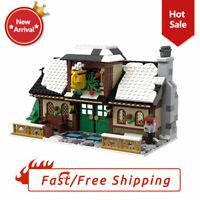 Christmas Series Winter Village Coffee Shop MOC Building Blocks Kids Toys Gifts