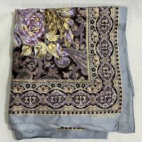 Ellen Tracy silk scarf gold purple paisley floral 34 x 34 square gray border