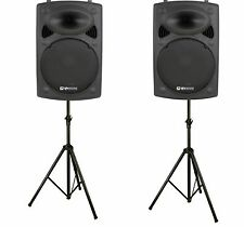 QTX QR15K 15″, 800W ACTIVE ABS DISCO DJ PA SPEAKERS WITH STANDS - PAIR