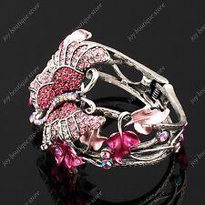 Pink rhinestone Crystal New Leaf Butterfly fashion jewelry Bracelet bangle woman