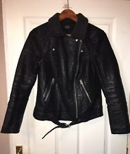 Women TOPSHOP faux leather bomber jacket size 10