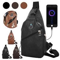 Shoulder Bag Sling Chest Pack USB Charging Men Sports Crossbody Handbag Outdoor