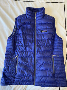 Patagonia Size L Womens Padded Gilet Jacket Blue Goose Down Lightweight Zip
