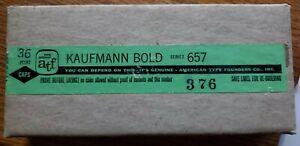 "NEW ""A T F"" 36 Point - KAUFMAN BOLD - Caps - Series 657 - Letterpress Type"